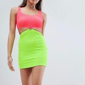 Neon pink & green mini festival dress